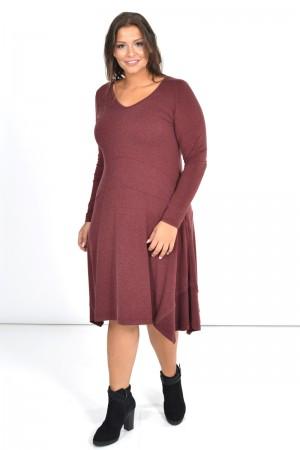 Φόρεμα Μίντι Ασύμμετρο με Μύτες