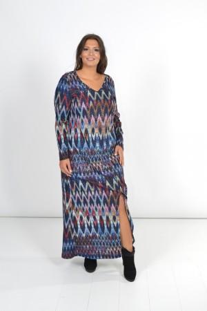 Φόρεμα Μάξι Εμπριμέ με Άνοιγμα