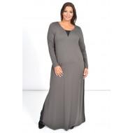 Φόρεμα Μάξι με Φάσες Σαμπρέλας στο Πλάι