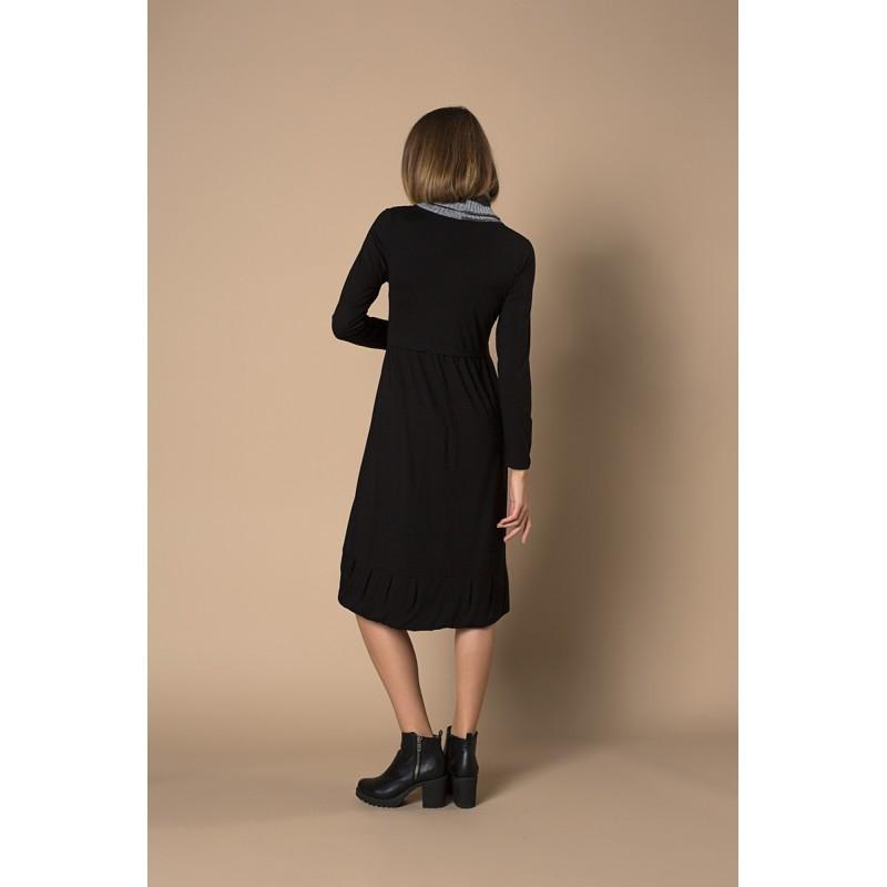 φορεματα μιντι με γιακα πλεκτο