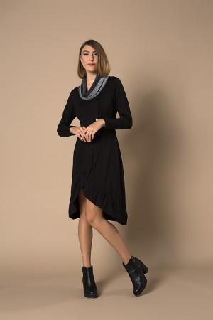 Φόρεμα Μίντι με Γιακά Πλεκτό