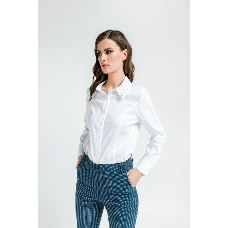 Fuego Fashion - Πουκάμισο Απλό με Στρας Στο Γιακά  Πουκαμίσα - Πουκάμισα xxl
