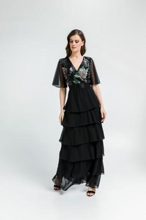 Φόρεμα Μουσελίνα Βολάν/Παγέτα