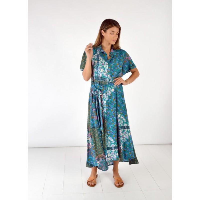 Οικονομικα Βραδινα Φορεματα - Φορεματα xxl - Φορεματα Φορεματα - Fuego Fashion - Φόρεμα Κουμπωτό Εμπριμέ Φορέματα xxl