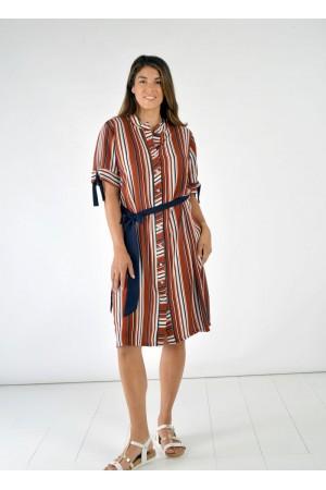 Φόρεμα Ριγέ με Κουμπιά