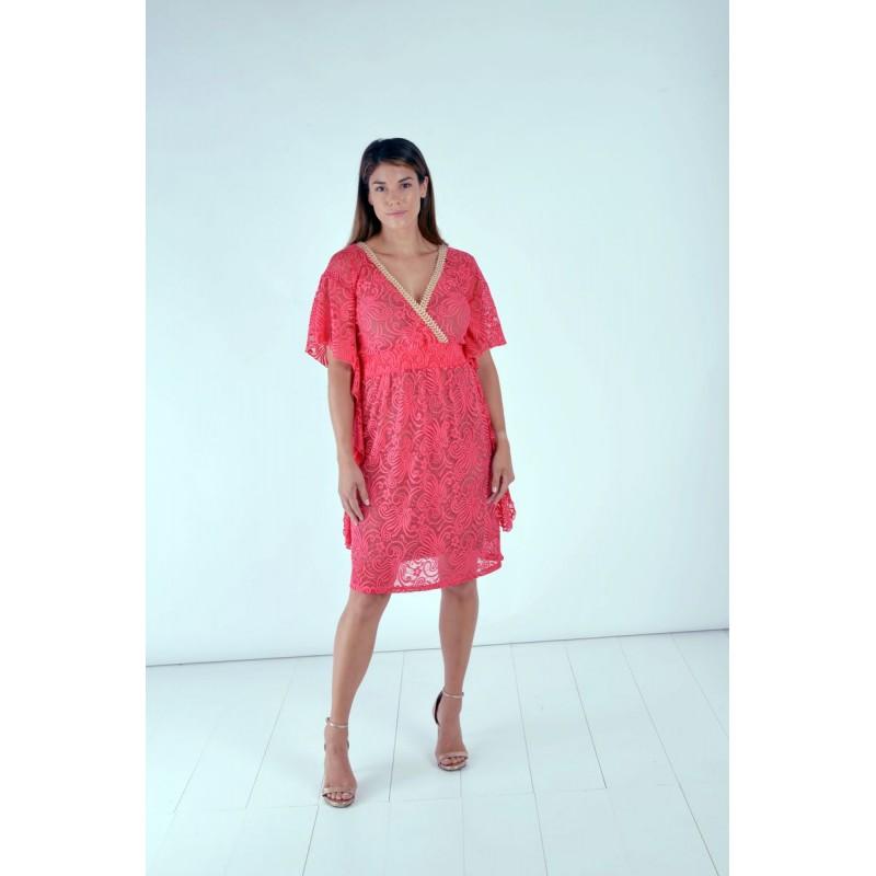 Φορεματα xxl - Φορεματα Φορεματα - Fuego Fashion - Φόρεμα Καφτάνι Δαντέλα Φορέματα xxl