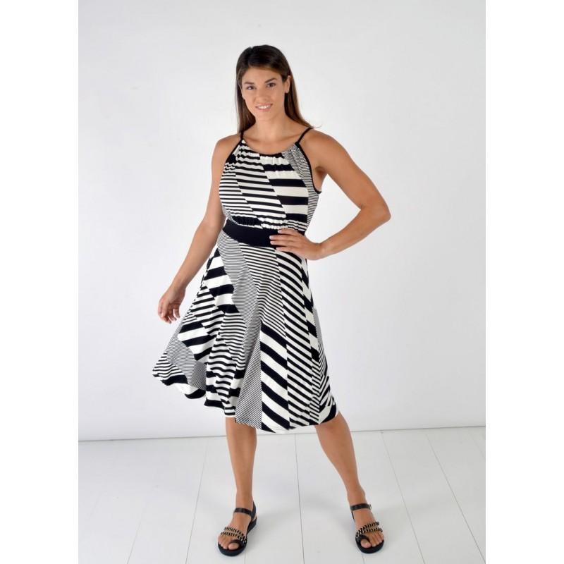 Φορεματα xxl - Φορεματα Φορεματα - Fuego Fashion - Φόρεμα Ασπρόμαυρο Φορέματα xxl
