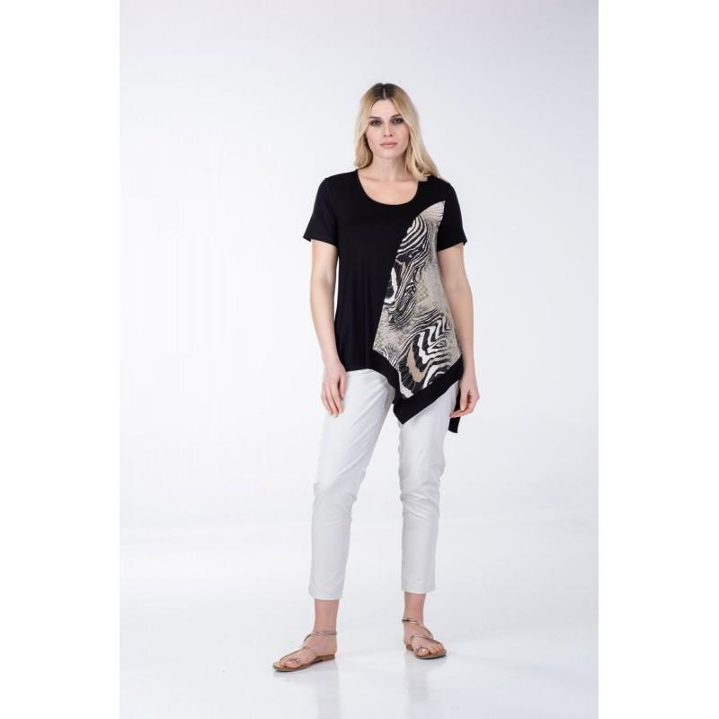 Μπλουζες xxl - Μπλουζες - Fuego Fashion - Μπλούζα Ασύμμετρη με Εμπριμέ Μπλούζες xxl