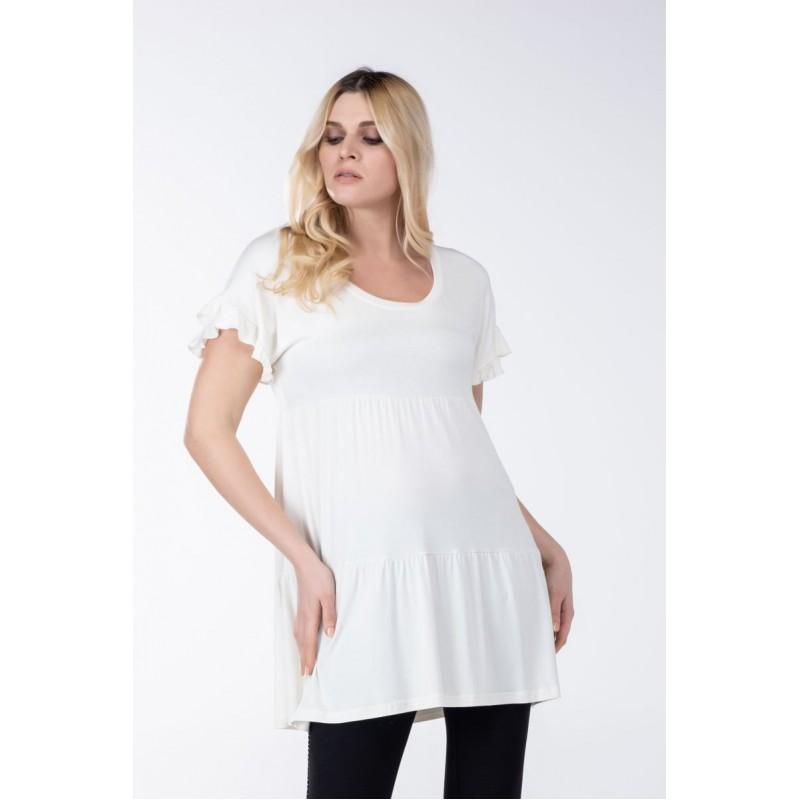 Μοντερνα plus size ρουχα - Μπλούζα-Φόρεμα με Βολάν Μπλούζες xxl