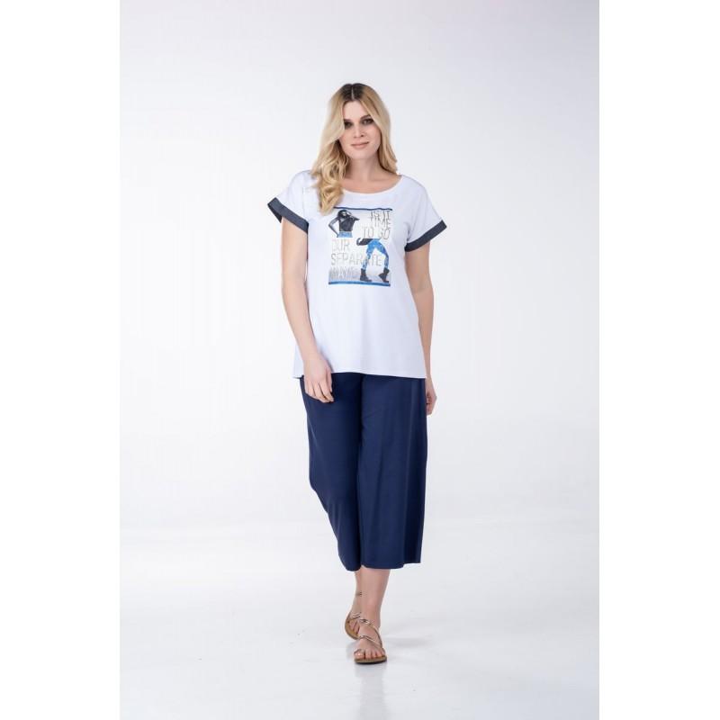 Μπλουζες xxl - Μπλουζες - Fuego Fashion - Μπλούζα με Τζήν Φάσες Μπλούζες xxl