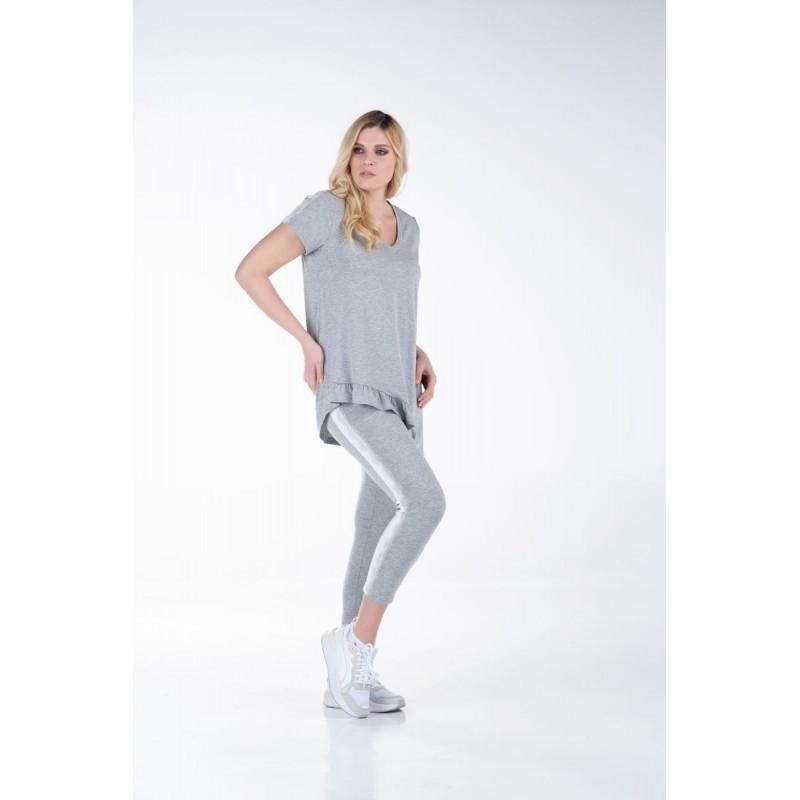 Μοντερνα plus size ρουχα - Μπλούζα με Βολάν και Δαντέλα Μπλούζες xxl