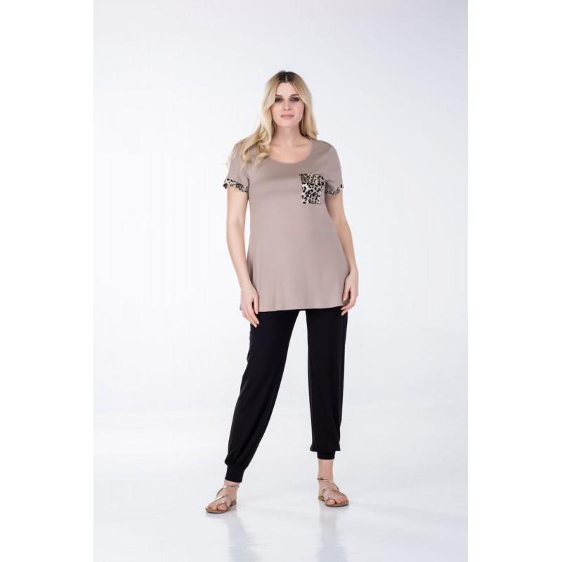 Μπλουζες xxl - Μπλουζες - Fuego Fashion - Μπλούζα με Τιγρέ Φάσες και Τσέπη Μπλούζες xxl