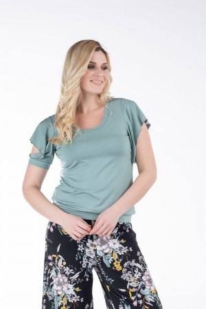 Μπλούζα με Σχέδιο στο Μανίκι