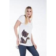 Μπλούζα με Μοτίφ Παγιέτε Γάτα