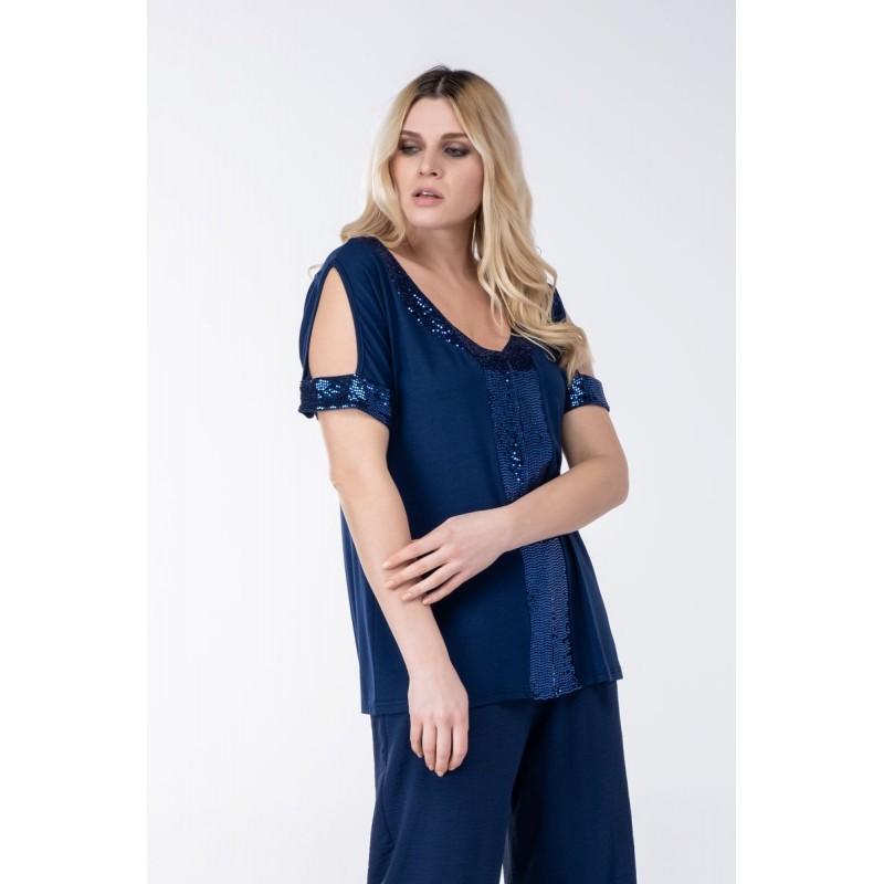 Μπλούζα με Παγιέτα Λεπτομέριες Μπλούζες xxl