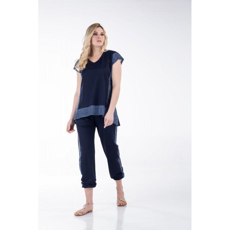 Μοντερνα plus size ρουχα - Μπλούζα με Λούρεξ Πλαινά και Φάσα Μπλούζες xxl