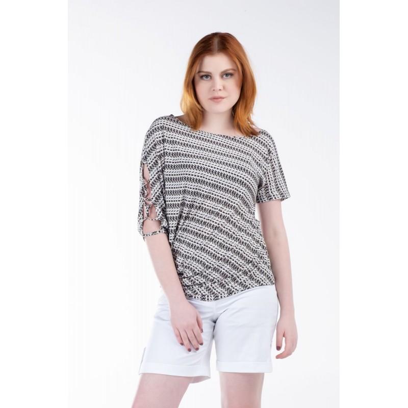 Μπλούζα Ασύμμετρη με Κορδόνια Μπλούζες xxl