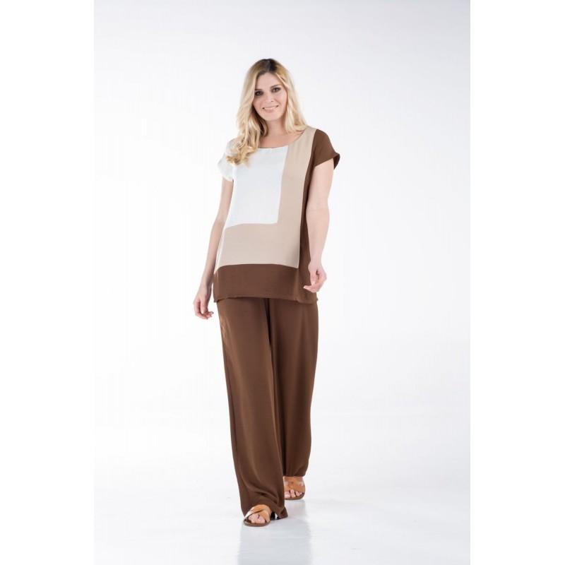 Μοντερνα plus size ρουχα - Μπλουζες xxl - Μπλουζες - Fuego Fashion - Μπλούζα Τρίχρωμη Μπλούζες xxl