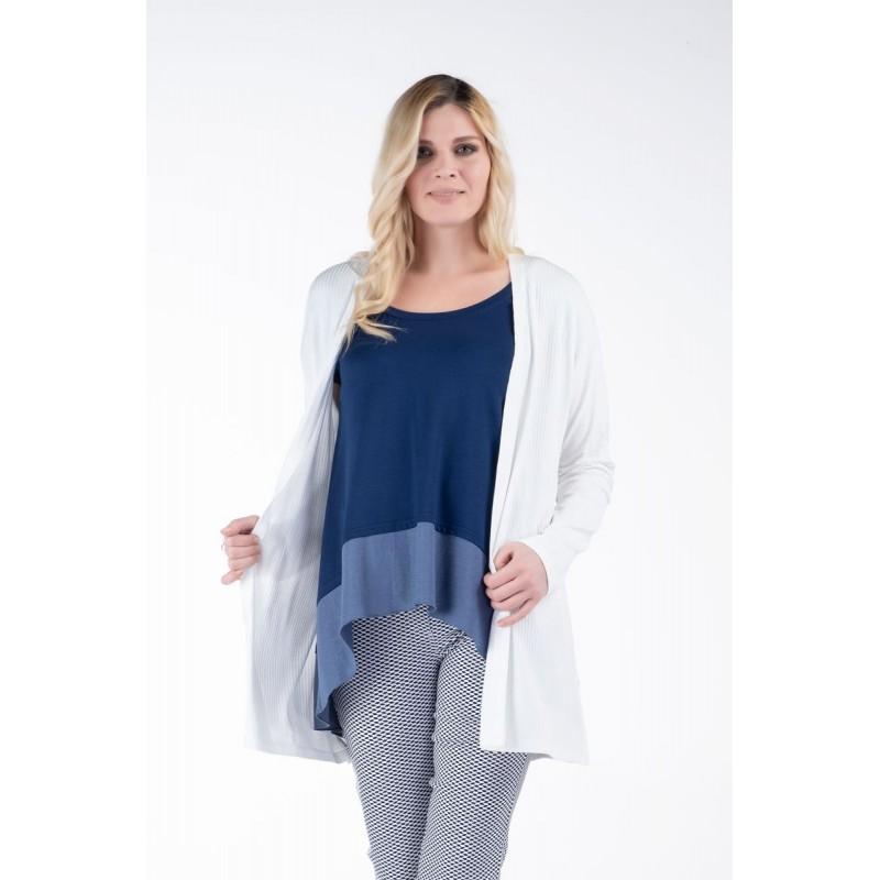 Μοντερνα plus size ρουχα - Μπλούζα με Φάσα και Λούρεξ Μπλούζες xxl