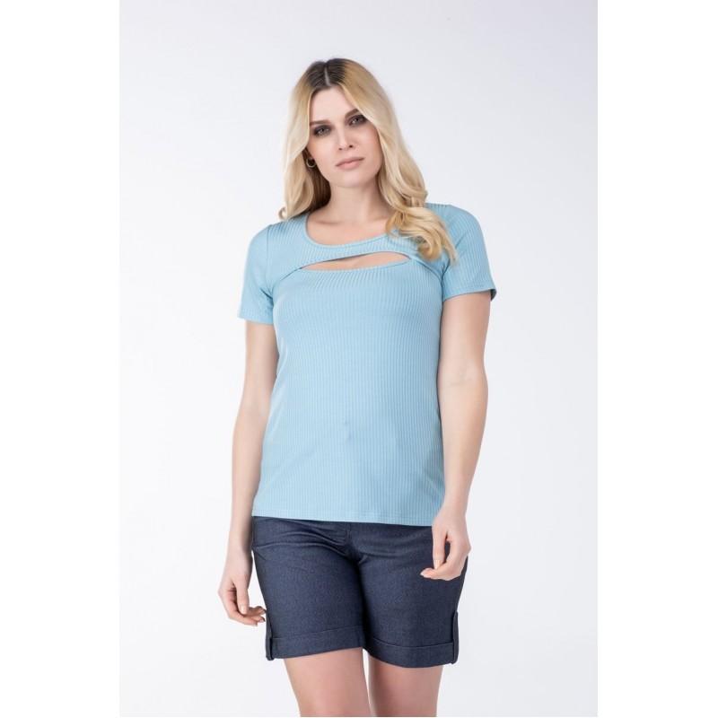 Μοντερνα plus size ρουχα - Μπλουζες xxl - Μπλουζες - Fuego Fashion - Μπλούζα RIB με άνοιγμα Μπλούζες xxl