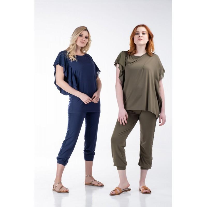 Μοντερνα plus size ρουχα - Μπλούζα με Βολάν και Τούλι στα Μανίκια Μπλούζες xxl