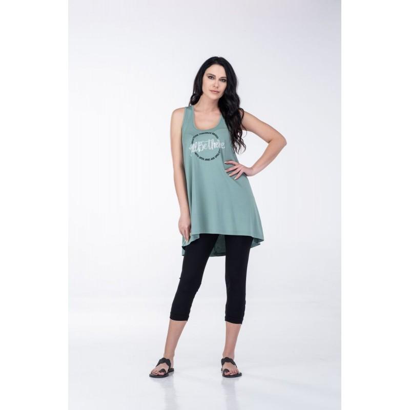 Μπλουζες xxl - Μπλουζες - Fuego Fashion - Μπλούζα Αμάνικη με Στάμπα Κύκλος Μπλούζες xxl