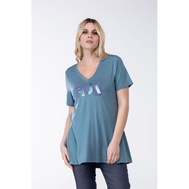 Μοντερνα plus size ρουχα - Μπλουζες xxl - Μπλουζες - Fuego Fashion - Μπλούζα με Στάμπα Run Μπλούζες xxl