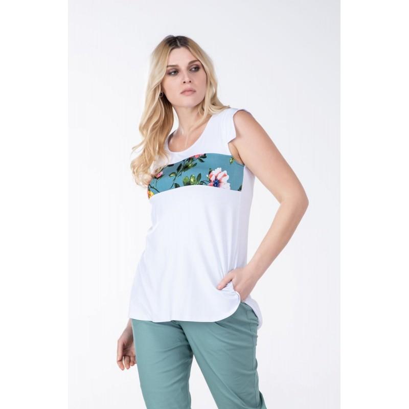 Μπλούζα με Φάσα Φλοράλ Μπλούζες xxl