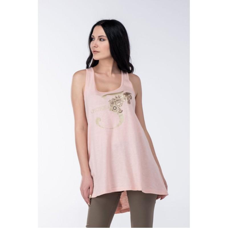 Μοντερνα plus size ρουχα - Φορεματα xxl - Φορεματα Φορεματα - Fuego Fashion - Μπλούζα Αμάνικη με Στάμπα 3 Φορέματα xxl