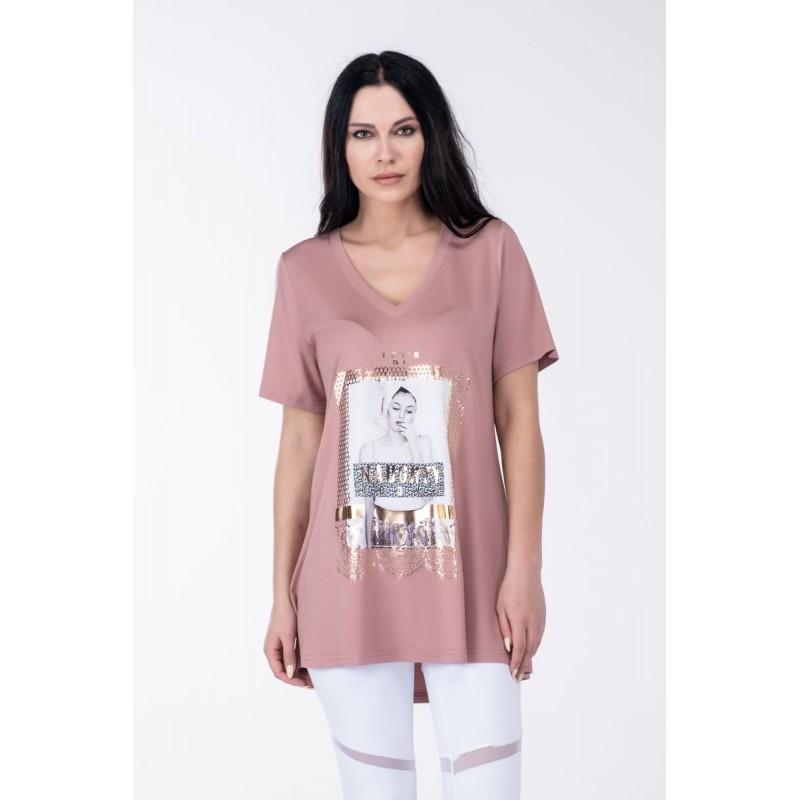 Μοντερνα plus size ρουχα - Μπλούζα Στάμπα Κοπέλα Μπλούζες xxl