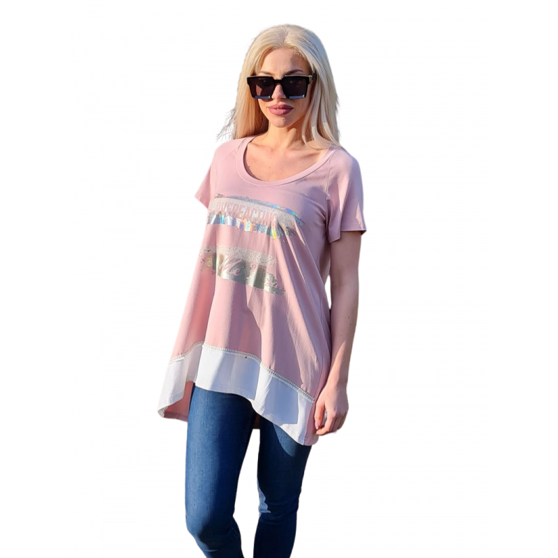 Μοντερνα plus size ρουχα - Μπλούζα με Στάμπα και 2χρωμη Φάσα Μπλούζες xxl