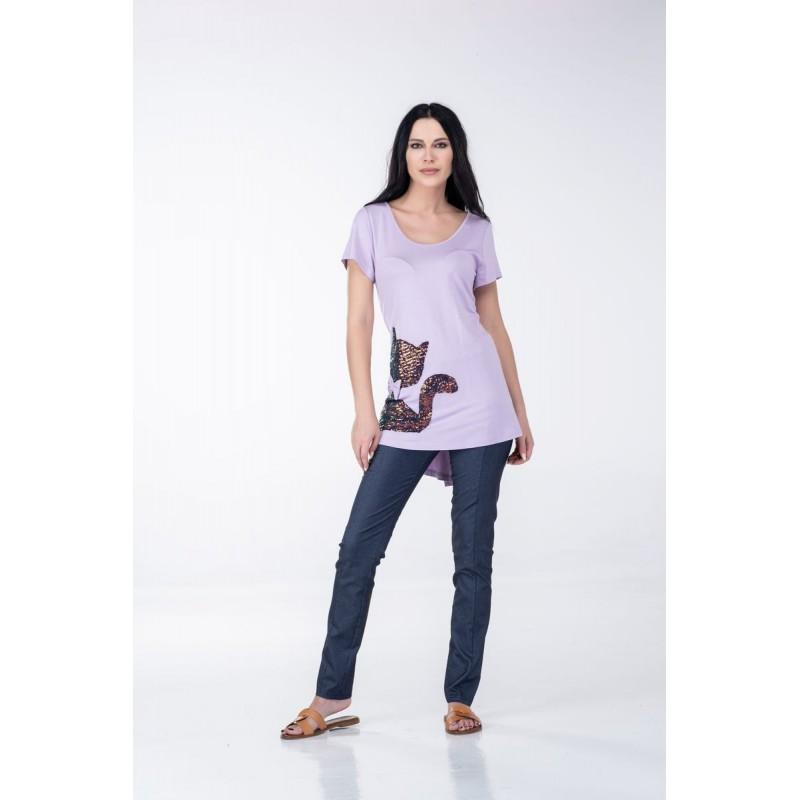 Fuego Fashion - Παντελόνι-Κολάν Τύπου Τζην με Ραφή Παντελόνια xxl
