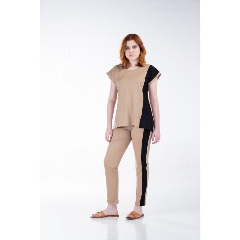 Σετ Παντελόνι και Μπλούζα Δίχρωμα με Φάσες Μπλούζες xxl