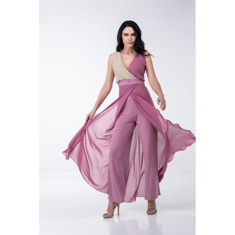 Μοντερνα plus size ρουχα - Ολόσωμη Φόρμα Δίχρωμη Μουσελίνα Ολόσωμες Φόρμες xxl