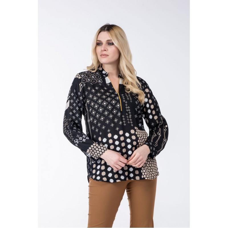 Fuego Fashion - Πουκαμίσα με Διάφορα Εμπριμέ Πουκαμίσα - Πουκάμισα xxl