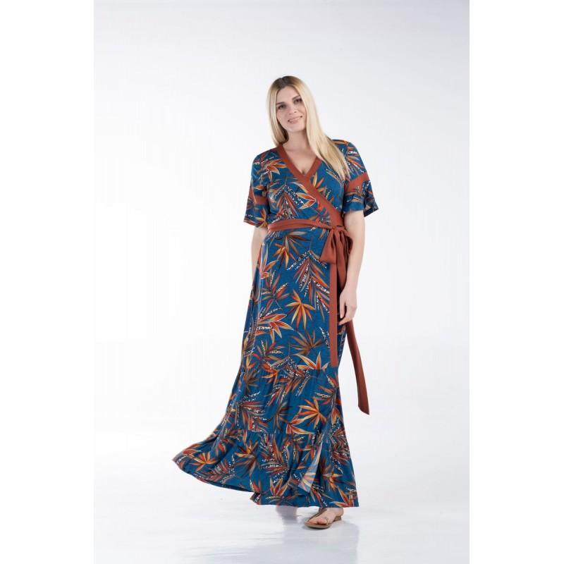 Οικονομικα Βραδινα Φορεματα - Φόρεμα Κρουαζέ με Φάσες Φορέματα xxl