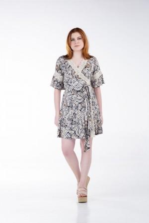 Φόρεμα Κοντό Κρουαζέ με Δαντέλα