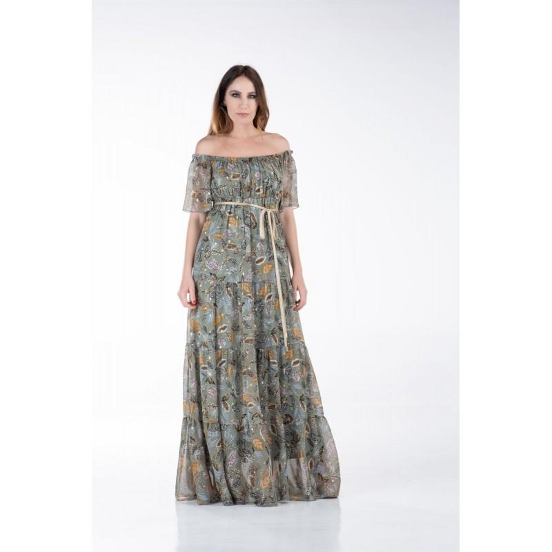 Οικονομικα Βραδινα Φορεματα - Φόρεμα Μακρύ με Λάστιχο στο Ντεκολτέ Φορέματα xxl