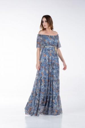 Φόρεμα Μακρύ με Λάστιχο στο Ντεκολτέ