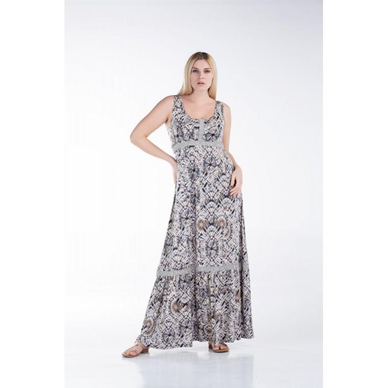 Οικονομικα Βραδινα Φορεματα - Φορεματα xxl - Φορεματα Φορεματα - Fuego Fashion - Φόρεμα Αμάνικο με Τρέσα Φορέματα xxl