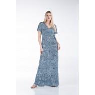 Φόρεμα Εμπριμέ με Βολάν