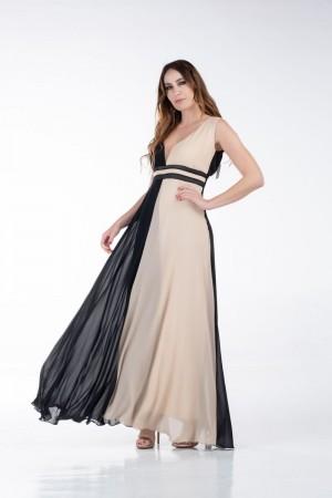 Φόρεμα Μακρύ Δίχρωμο
