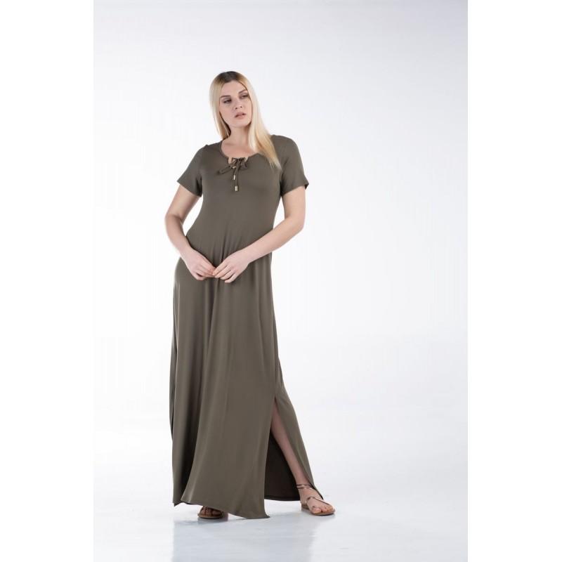 Οικονομικα Βραδινα Φορεματα - Φορεματα xxl - Φορεματα Φορεματα - Fuego Fashion - Φόρεμα Βισκόζη με Τρέσα Φορέματα xxl
