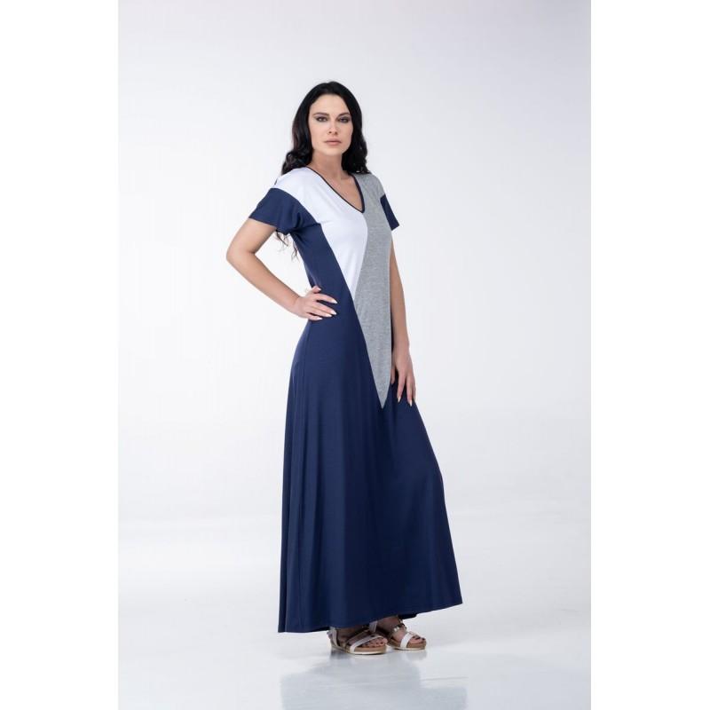 Φόρεμα Μακρύ Τρίχρωμο  Φορέματα xxl