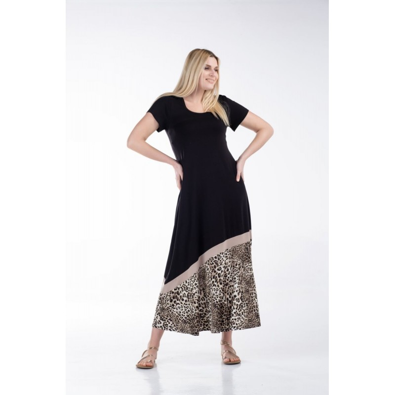 Φόρεμα Μακρύ με Φάσα Άνιμαλ Φορέματα xxl