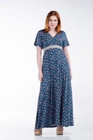 Φόρεμα Μακρύ Κρουαζέ με Τρέσα