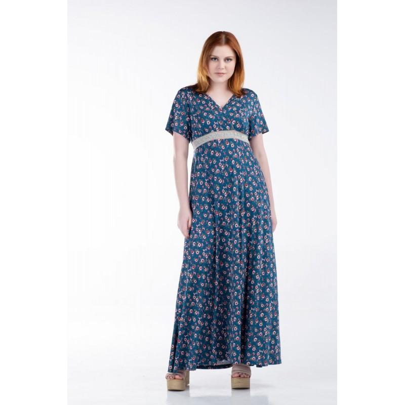 Οικονομικα Βραδινα Φορεματα - Φορεματα xxl - Φορεματα Φορεματα - Fuego Fashion - Φόρεμα Μακρύ Κρουαζέ με Τρέσα Φορέματα xxl