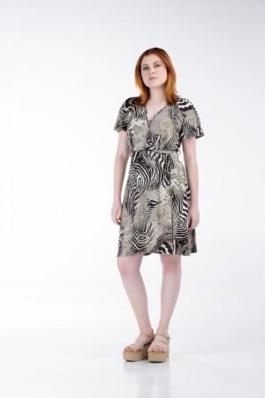 Φόρεμα Κοντό Κρουαζέ  με Κοντό Μανίκι