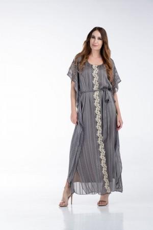 Φόρεμα Μακρύ Μουσελίνα με Χρυσή Τρέσα