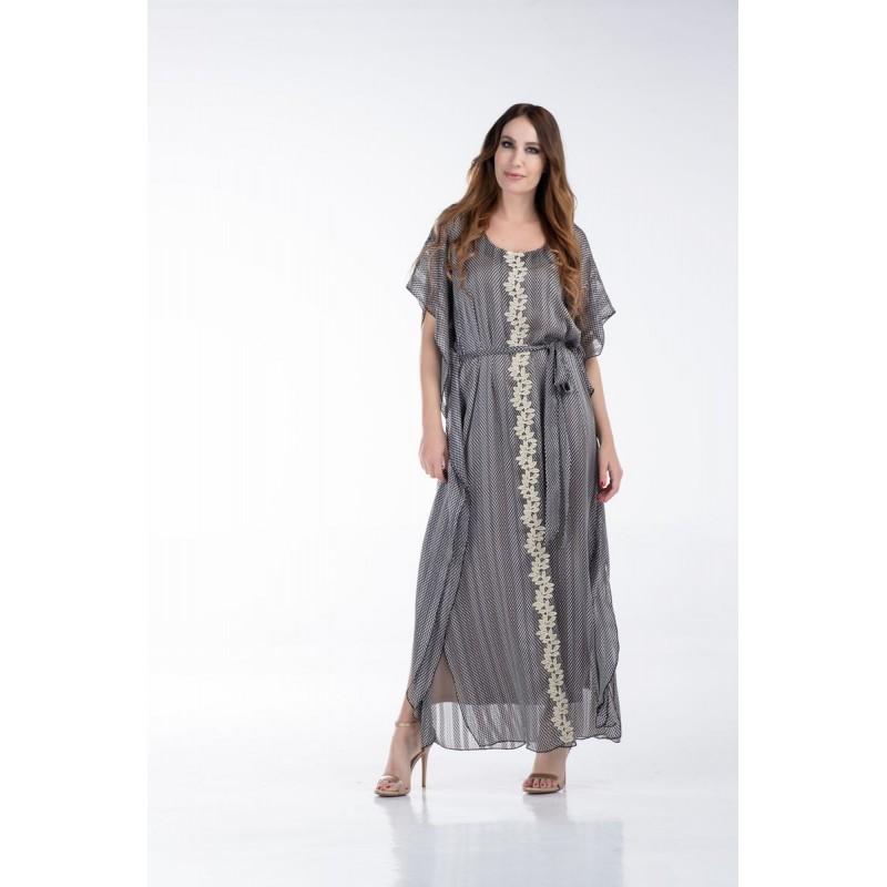 Φόρεμα Μακρύ Μουσελίνα με Χρυσή Τρέσα Φορέματα xxl